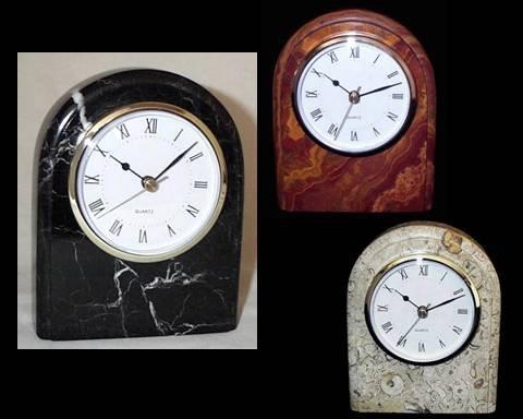 Tan Fossil Marble Desk Clock, Decorative Stone Shelf Clock - 6 Inch