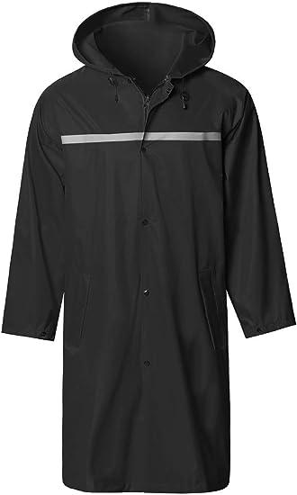 SaphiRose Men's Long Hooded Safety Rain Jacket