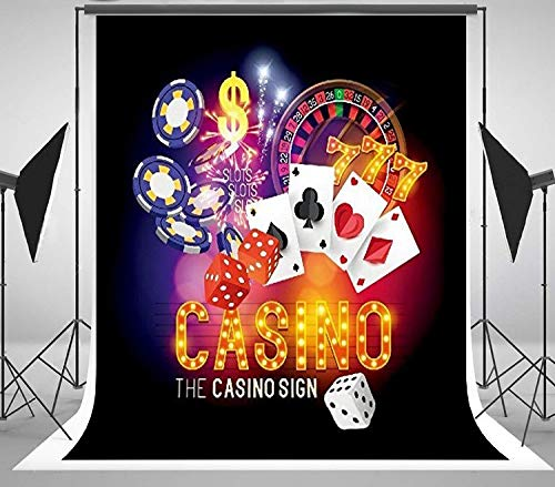 5x7ft Las Vegas Theme Casino Poker Cards Roulette Dice Club Portrait Cloth Computer Print Party Backdrop CSN009