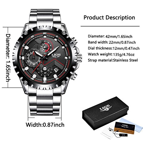Mens-Sport-Quartz-Watches-Luxury-Business-Waterproof-Stainless-Steel-Chronograph-Black-Dial-Watch