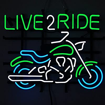 Motorcycle Live 2 Ride neon sign store display beer bar sign Real Neon 19x15