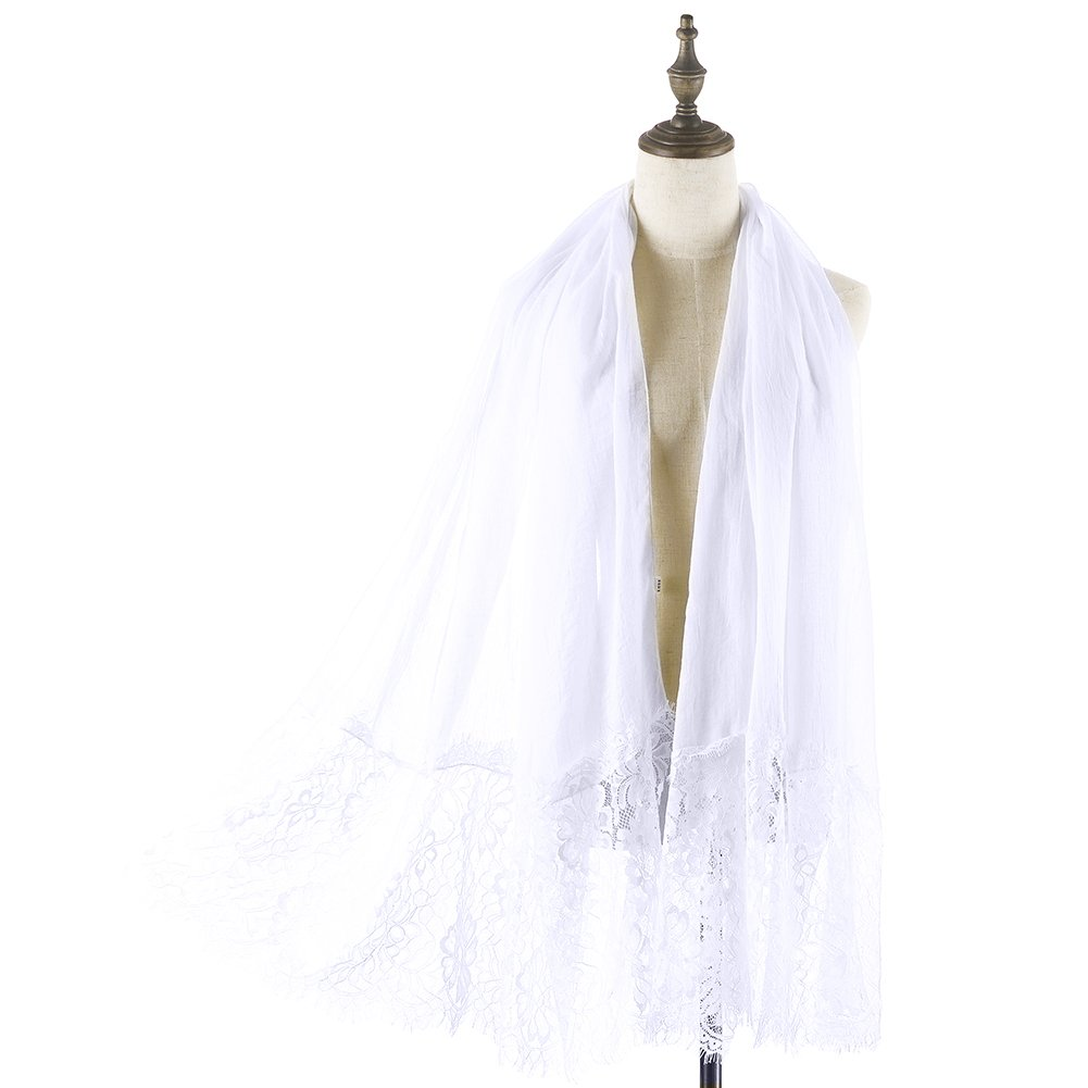 Women Lace Scarf Lightweight Shawl,RiscaWin Soft Contracted Style Both Ends Floral Lace Soft Scarf Spring Shawl(White)