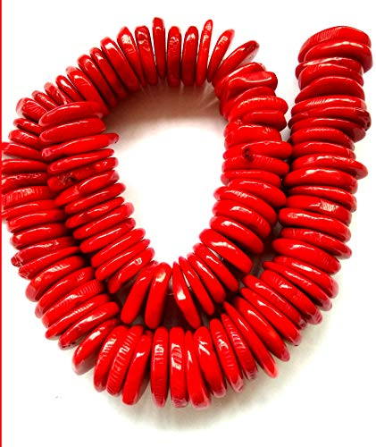 (Red Coral Natural Genuine 20mm Coral Beads Wheel- Heishi - Rondelle - 16 Inch Strand)
