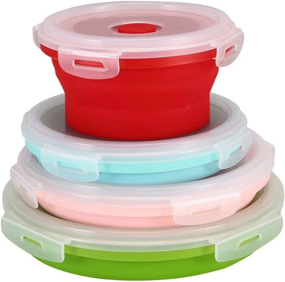 Win More Set of 4 Collapsible Silicone Food Storage Containers, with Airtight Plastic Lids and Vent Valve Silicone Bento Lunch Box, for Kitchen Outdoor Travel Picnic Microwave and Freezer Safe