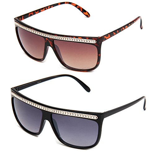 Newbee Fashion - Women Retro Fashion Square Flat Top Sunglasses with - Rhinestones With Sunglasses