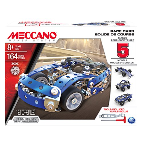 MECCANO Erector, 5 Model Building Set - Race Cars, 164 Pieces, for Ages 8 and up, STEM Construction Education Toy