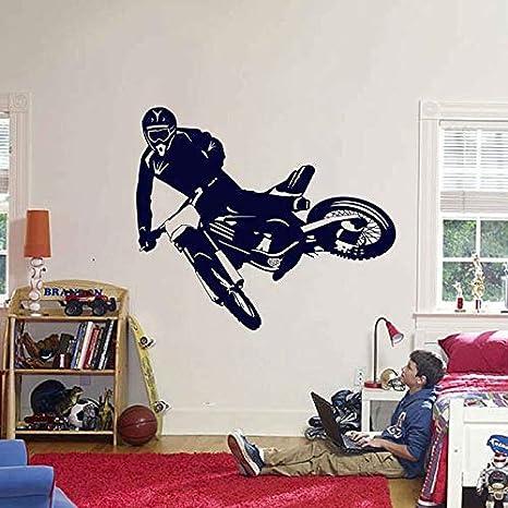 wZUN Motocross Vinilo calcomanías de Pared Motocicleta Pegatinas de Pared habitación de los niños decoración del Dormitorio 49X42cm