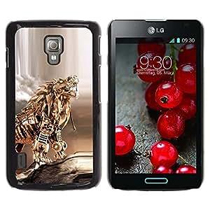 Be Good Phone Accessory // Dura Cáscara cubierta Protectora Caso Carcasa Funda de Protección para LG Optimus L7 II P710 / L7X P714 // Gold Dragon Poker Metal Sculpture Tiger