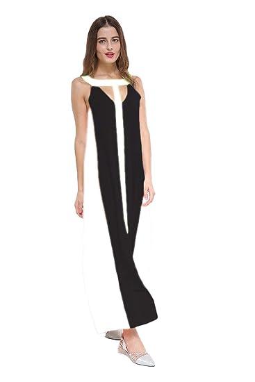 f6fd94dbf028 MepLife Womens Sleeveless V Neck Chiffon Maxi Dresses Loose Floor Plus Size  Long Skirt Contrast Color