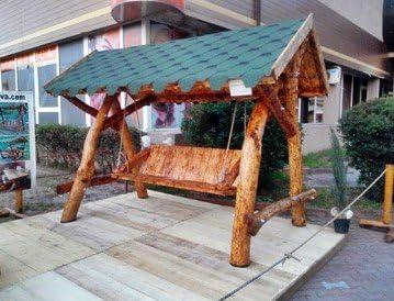 Casa Padrino Garden Swings Rustic roofed Porch Swing Mod S2 - Oak ...