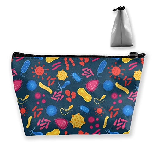 Virus and Bacteria Bug Makeup Bag Travel Case Cosmetic Bag with Zipper for Women & Men -