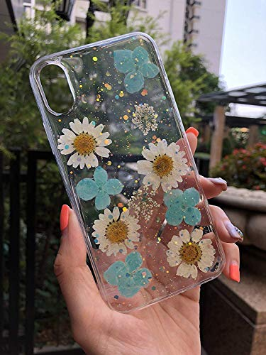 Cbus Wireless Crystal Clear Silicone TPU Gel Case Made with Real Daisy Flowers & Petals for iPhone Xs, iPhone X Sparkles ()