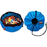 SWOOP Mini Portable LEGO Storage Bag, Blue. Modern + Simple Design. Made from Durable, Nylon Fabric. Made in USA.