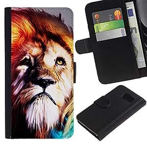 All Phone Most Case / Oferta Especial Cáscara Funda de cuero Monedero Cubierta de proteccion Caso / Wallet Case for Samsung Galaxy S6 // Lion Fur King Animal Psychedelic Fearless Wild