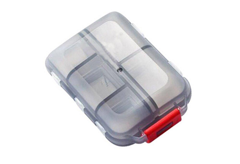 Travel 10 Slot Vitamin Medicine Pill Box Case Holder Daily Tablet Holder Storage Dispenser Organizer Container (Gray)
