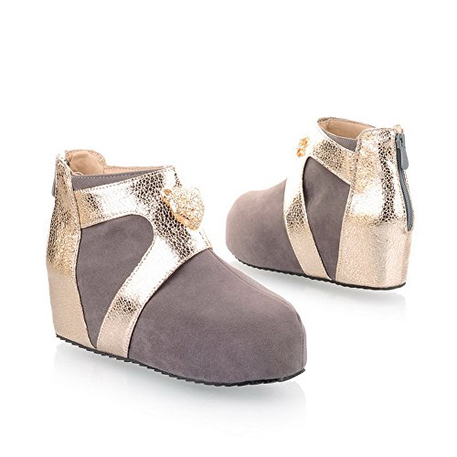 AmoonyFashion US Round B Kitten with Metalornament 8 M PU Frosted Womens Grey Heels Toe Closed Assorted Boots Colors TwRxITErq