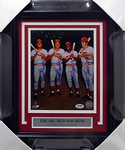 Cincinnati Reds Big Red Machine Autographed Framed 8x10 Photo With 4 Signatures Including Johnny Bench, Pete Rose, Joe Morgan & Tony Perez PSA/DNA #4A86044