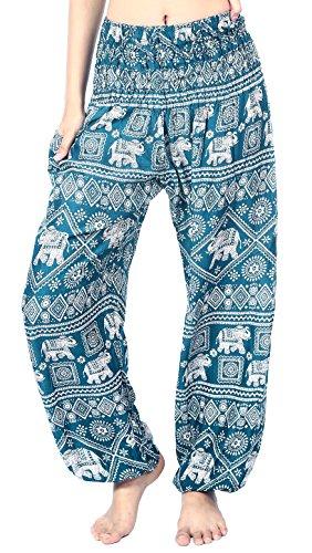 Boho Vib Women's Rayon Print Smocked Waist Boho Harem Yoga Pants (L/XL, Elephant 2 Teal Green)
