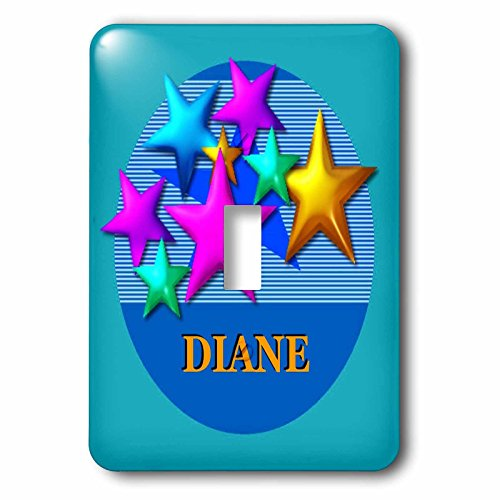 3dRose LSP_52952_1 Vibrant Colored Stars On A Blue Background Personalized with The Name Diane Toggle Switch