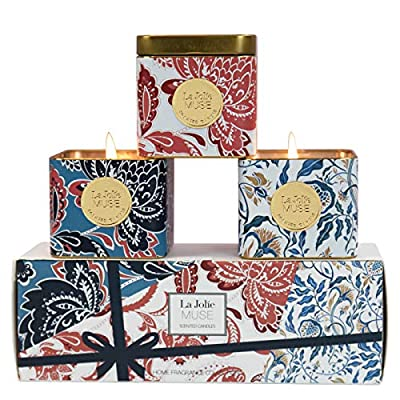 LA JOLIE MUSE Scented Aromatherapy Candles Gift Set - 3 Natural Soy Candles Essential Oils Tin Candles Gift, Small Stress Relief Relaxing Candle Set, 11.64 Oz (3.88oz x 3) Christmas Candle Sets Gifts