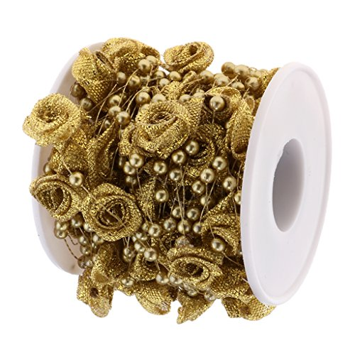 D DOLITY 10m Rose Flower Pearls Beads String Roll Wedding Dress Bouquet Cake Headpieces DIY Material - Gold, 10m
