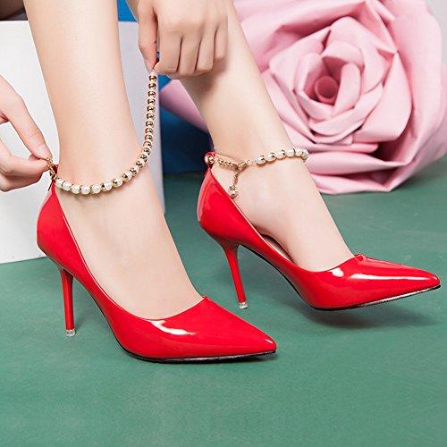Hoxekle Mujeres Sexy Tacones Altos Bombas De Tacón De Aguja Primavera Moda Nuevo EleHombresto Zapatos Diseño De La Joyería Rojo