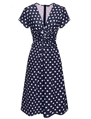 [ACEVOG Women's V Neck Short Sleeve 1940s/40s Polka Dot Pin-up Ruched Full Length Dress] (1940s Pin Up Girl)