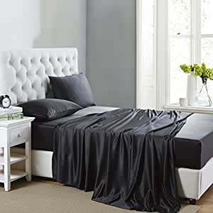 OOSilk 4 Pieces 100% Mulberry Charmeuse Silk Sheets Set Seamless Deep Pocket (Queen Bed, Black Color)