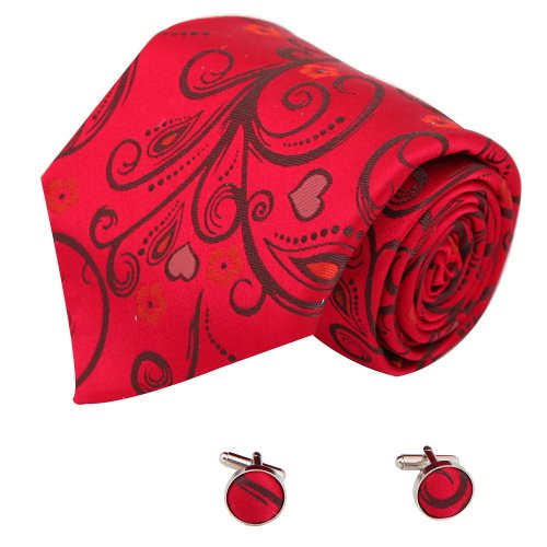 A2038 Red Classic Patterned Grey Online Shopping For Wedding One Size Business Gift Silk Ties Cufflinks Set 2PT By Y&G