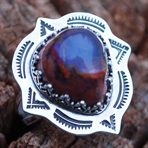 Gorgeous Mexico Genuine Cantera Fire Opal Argentium Sterling Silver Ring Handmade NEW - Colorful High Domed - The Cantera