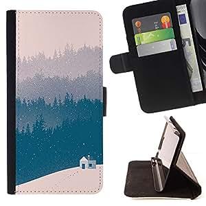Momo Phone Case / Flip Funda de Cuero Case Cover - Azul del invierno Bosque Ver Beige - Huawei Ascend P8 Lite (Not for Normal P8)