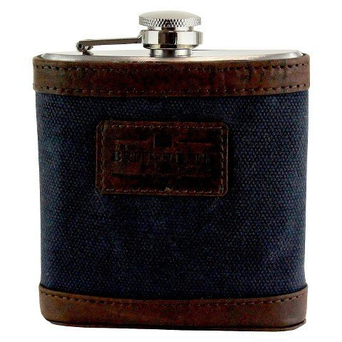 British Belt Oxburgh Waxed Canvas Hip Flask (Navy)