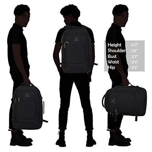 Hynes Eagle Travel Backpack 40L Flight Approved Carry on Backpack Black with 3PCS Packing Cubes 2017