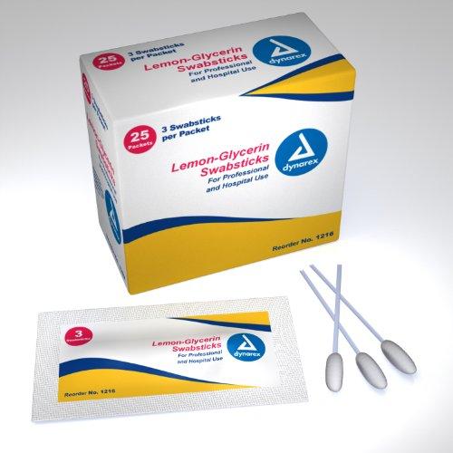 Price comparison product image Lemon Glycerin Swabsticks Dynarex 25x3