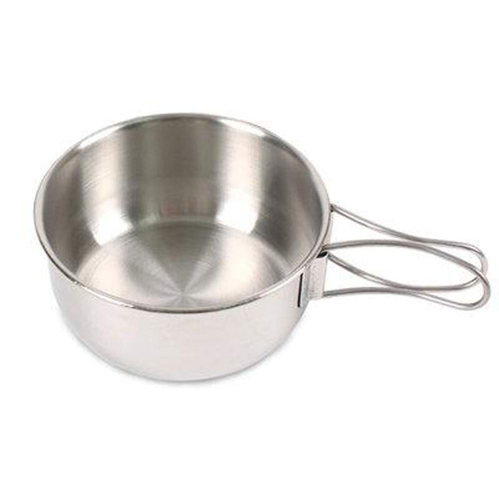 KnvcDey Stainless Steel Collapsible Bowl,Camping cookware Hiking Portable Travel Food Storage containers Outdoor pan for 1 to 2 People Free Space-Saving-A diameter12cm(5inch) by KnvcDey