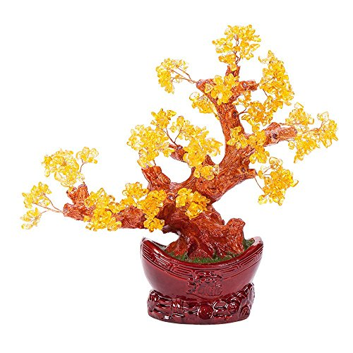 Stunning Feng Shui Citrine Gemstone Quartz Bonsai Money Tree (Quartz Gemstone Tree)