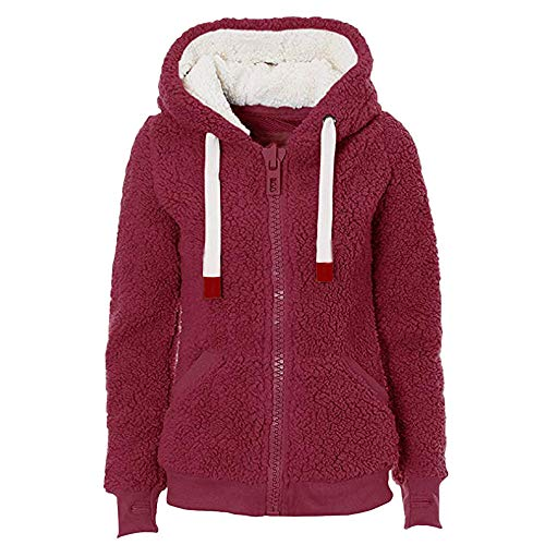 Hooded Hiver Jacket Soft Teddy Rouge Mesdames Blousons Hoody Avec Theshy Femme Manteau Poche Automne Pull Femmes SBWnqUYzU