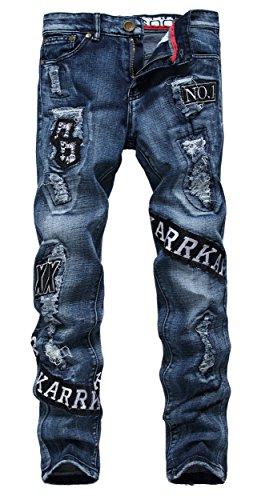 Demi Slim Jeans - Qazel Vorrlon Men's Blue Skinny Ripped Distressed Destroyed Slim Fit Badge Patch Denim Jeans