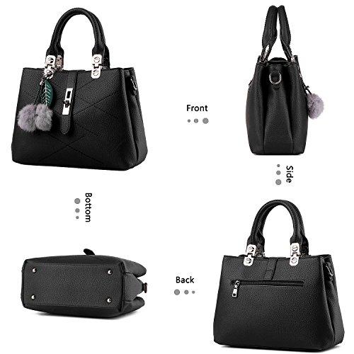 Handbags Cadier Purses and Bags for Satchel Shoulder Tote Black Women EwErxdqg
