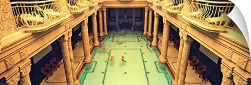 Canvas On Demand Wall Peel Wall Art Print entitled Tourists in a swimming pool, Gellert Baths, Budapest, Hungary (Capital 48 Inch Natural)