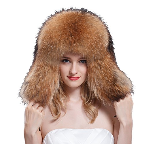 URSFUR Women's Raccoon Full Fur Russian Hats Natural Color by URSFUR