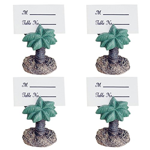 LUOEM Wedding Table Card Holders Signs Palm Tree Resin Place Card Stands Name Card Memo Note Holder Hawaii Luau Party Decoration 4PCS