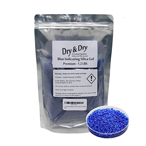 (1.2 LBS) Premium Blue Indicating Silica Gel Beads(Industry Standard 2-4 mm) - Double Packaged for Long-Term Protection