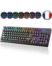 Clavier Gaming - Macrourt Clavier Gamer RGB Semi-Mecanique - 105 Boutons - Rétro-éclairage LED 7 Couleurs - Clavier de Jeu Filaire - Noir