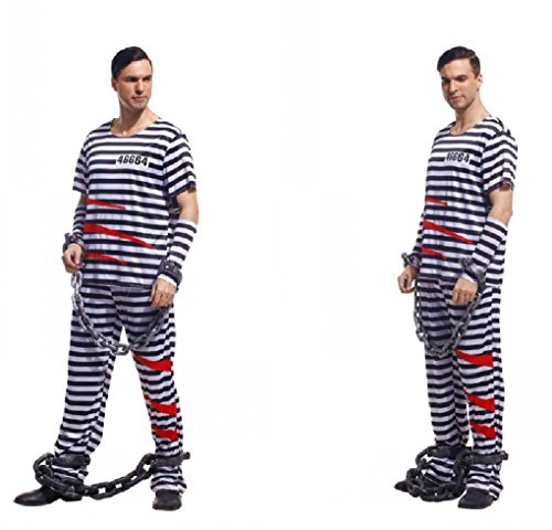 [Fancy Festival Halloween Cosplay Adult Prisoners Serving Prison Inmates Costume] (Adult Egyptian Prince Costumes)