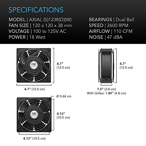 AC Infinity AXIAL 1238, Muffin Fan, 115V 120V AC 120mm x 38mm High Speed, for DIY Cooling Ventilation Exhaust Projects