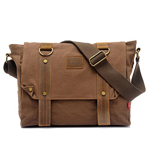 Shopping Bag Shoulder Messenger Bag Canvas Zipper Retro Simple Brown Comfortable