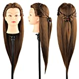 Training Head 32 inch Colorful Mannequin Head Hair Styling Training, Manikin Head Cosmetology Doll Head Synthetic Fiber Hair Hairdressing Training Head with free Stand holder