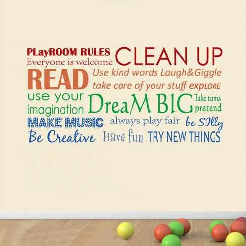 Playroom Rules Vinyl Wall Art Playroom Rules Wall Decal Clas