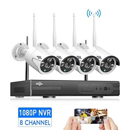 Security Camera System Wireless,HD Video Security System[8CH Expandable System] 4Pcs 960P 1.3MP IP Security Camera Wireless Indoor/Outdoor IR Bullet IP Cameras WiFi,P2P, NO Hard Drive,HisEEu IP Pro